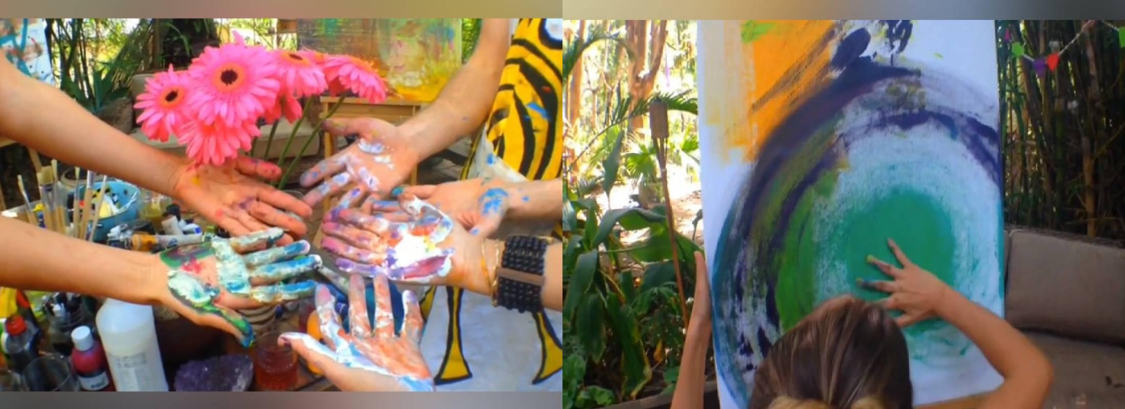 Talleres con pintura en el retiro de yoga en Lanzarote